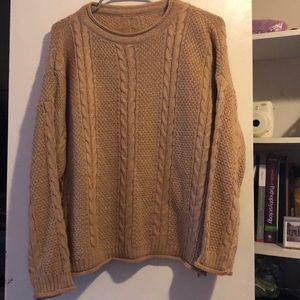 Sweaters - beige knit long-sleeve sweater